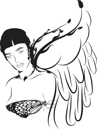 serine: Serine angel with retro butterfly.