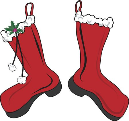 サンタ クロースの s のクリスマスのストッキングのイラスト。