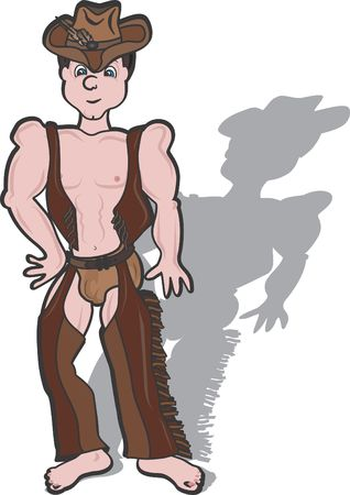 This illustration is of a Cowboy wearing chaps and underwear looking sexy and fun.  illustration