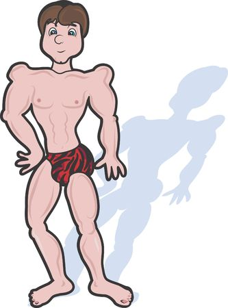 showboat: Sexy Dude in his underwear is a character illustration of a goofy man showing off his leopard striped Speedos.  Stock Photo