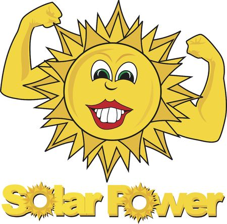 cartoon sun: Solar Power texto con un alegre sol de dibujos animados.