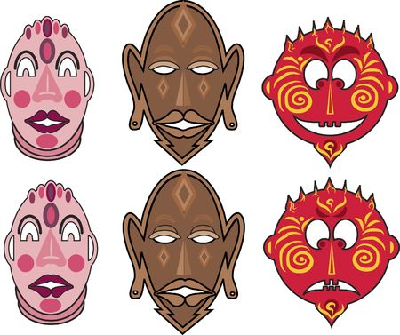 is masculine: A fun and decorative set of masculine faces all decorated to set a mood.  Stock Photo