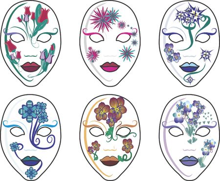 This illustration contains a set of six individually grouped masks, great to use together or as design elements. A fun and decorative set of feminine faces all individually decorated to set a mood echoed in nature.