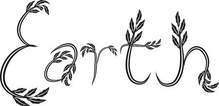 gaia: Earth text hand drawn with leaf accents. Illustration