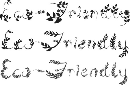 Eco Friendly text hand drawn with leaf accents. Vector