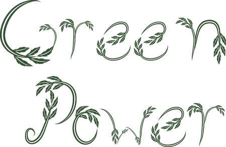 green power: Green Power text hand drawn with leaf accents.