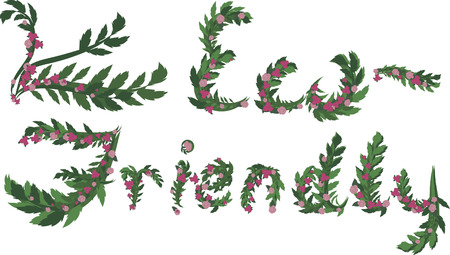 twists: Illustration of colorful Eco Friendly text, with no gradients.