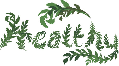 twists: Illustration of green Healthy text, with no gradients.  Illustration