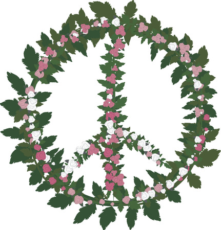Peace symbol with leaves and roses. No gradients.
