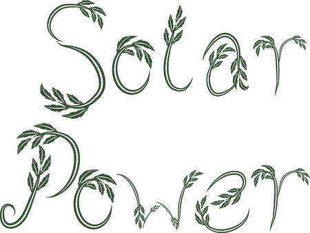 Solar Power text hand drawn with leaf accents.