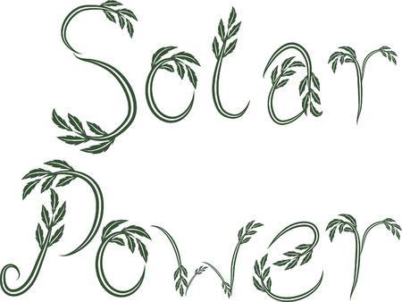 Zonne-energie tekst hand getekend met leaf accenten. Stock Illustratie