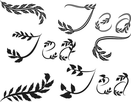 Tea text hand drawn with leaf accents. Vector