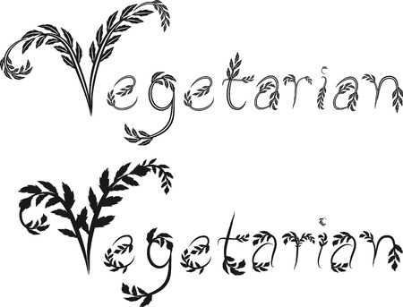 designelement: Illustration of Vegetarian text, with no gradients.