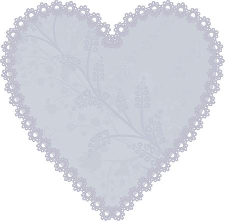 Lace heart frame design element. Illustration