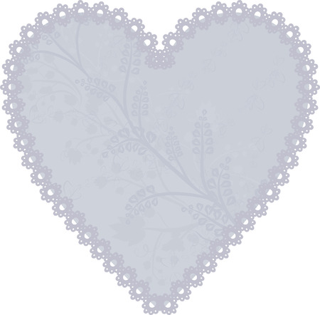 Lace heart frame design element. Vettoriali