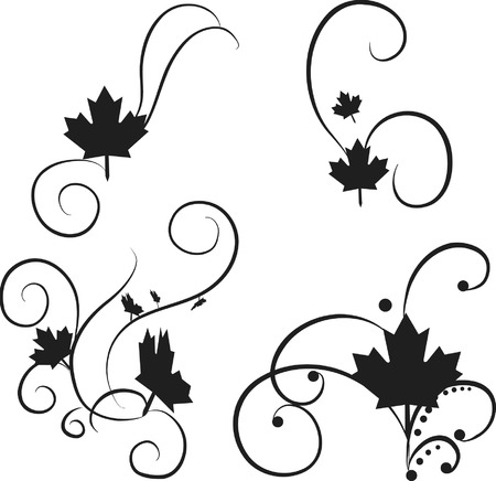 Maple leaf illustration in groups of design elements. The file contains no gradients. The illustration is layered and easy to edit.