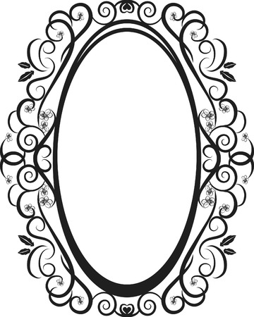 Abstract floral Grunge frame element. No Gradients.