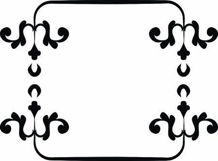 designelement: Abstract floral Grunge frame element. No Gradients.