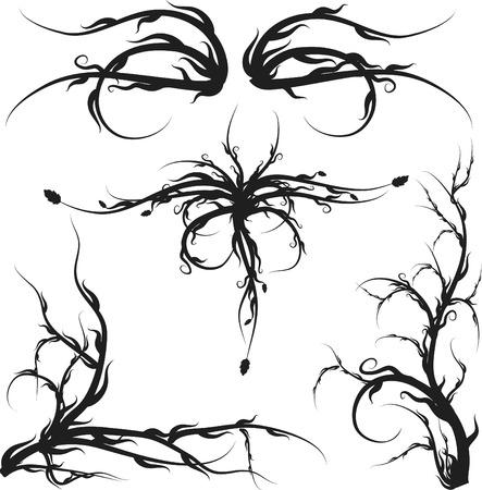 pagan: Envahi des racines et des feuilles sauvages �l�ments de conception.