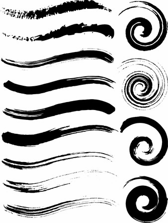 dry brush: Natural Brush Strokes created from real ink strokes with different brushes some dry others wet. File contains no gradients. Illustration