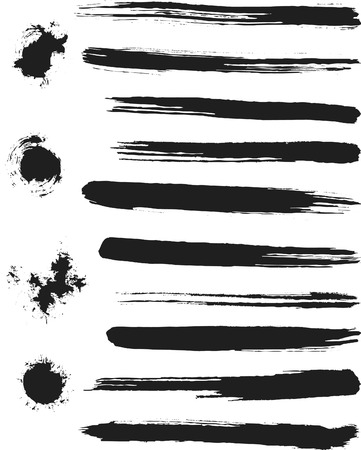 Natural Brush Strokes created from real ink strokes with different brushes some dry others wet. File contains no gradients. Illustration