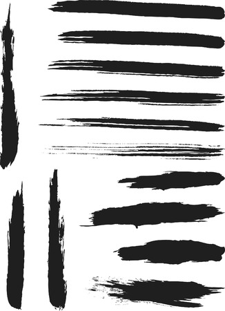 Natural Brush Strokes created from real ink strokes with different brushes some dry others wet. File contains no gradients. Stock Vector - 2465428