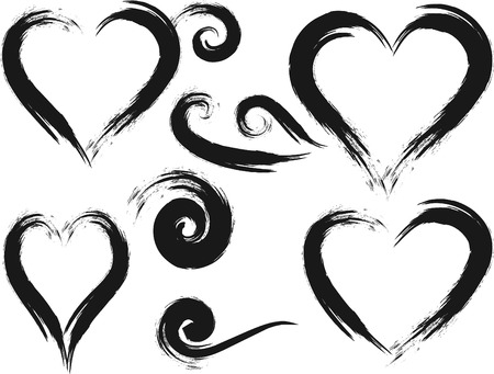 A set of hand painted natural ink brush frame design elements with a raw grunge feel. File contains no gradients.