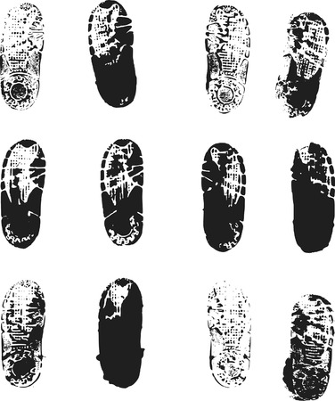pisada: Huellas creado a partir de caramelos en los zapatos de cruce de tinta. Archivo no contiene gradientes.  Vectores