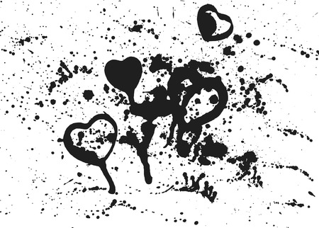 spatter: Thick paint spatter hearts and drips made from real paint. File contains no gradients.