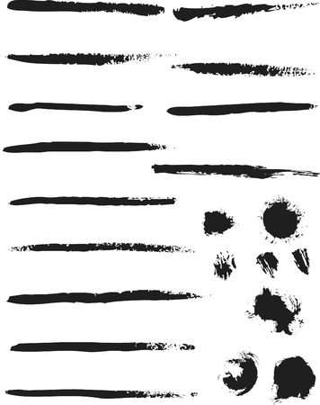 flick: Natural Brush Strokes created from real ink strokes with different brushes some dry others wet. File contains no gradients. Illustration