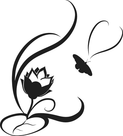 Stylized illustration of a lotus flower. File contains no gradients. Иллюстрация
