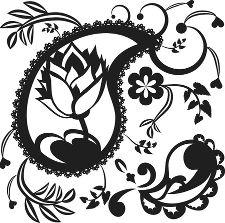 Stylized illustration of a lotus flower paisley pattern.  Illustration