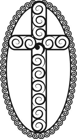 Illustration of a stylized cross. Ilustração
