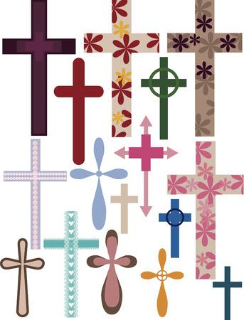 Illustratie van verschillende kruisen.