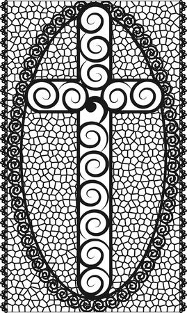 mortalidad: Ilustraci�n de cruz con vidrieras marco.  Vectores