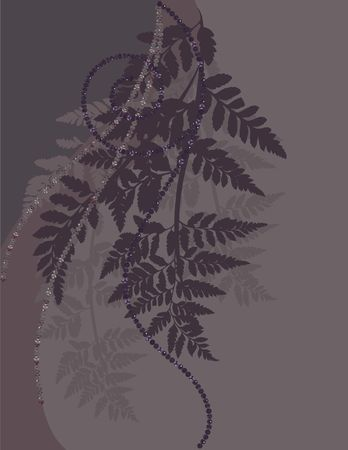 Fern leaves illustrated in an abstract background.