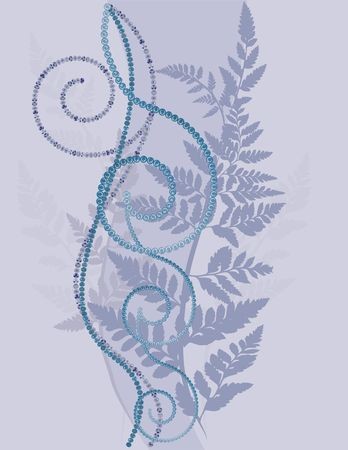 fiddlehead: Fern leaves illustrated in an abstract background.