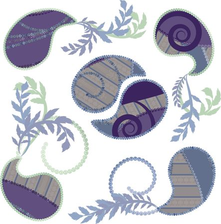 Paisley met parels, en een natuurlijke grunge achtergrond. Nr. Kleurverlopen. Stockfoto