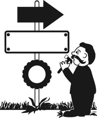 signmaker: One Color Cartoon illustration of a Sign Maker. No gradients. Illustration
