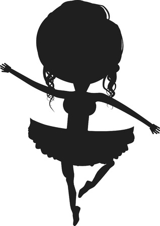 version: One color illustration of a Cartoon Ballerina. Color version in my portfolio. Illustration