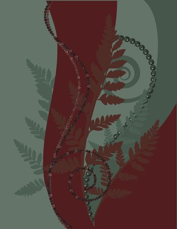 fern fiddlehead: Fern leaves illustrated in an abstract background.