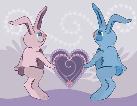 fertility goddess: Cartoon Love Bunnies with Easter eggs and hearts on a floral background.