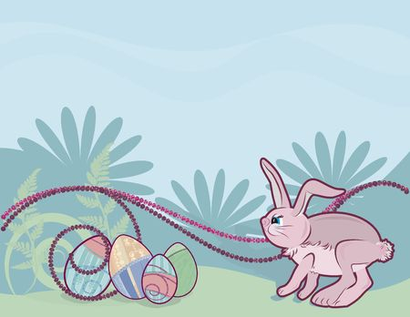 Cartoon Bunny with Easter eggs  on a floral spring background. photo