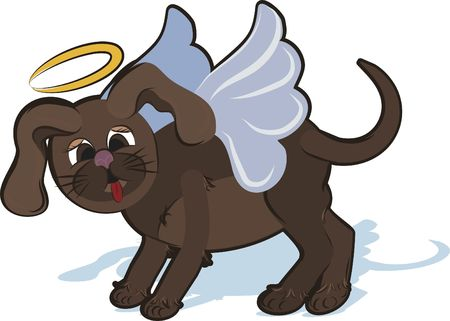 Cartoon drawing of a cute Puppy Angel sticking out his tounge. Stock Photo