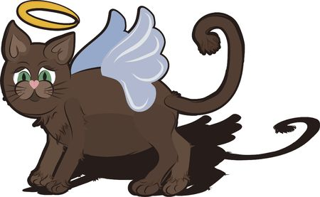 Cartoon drawing of a cute Cat Angel.