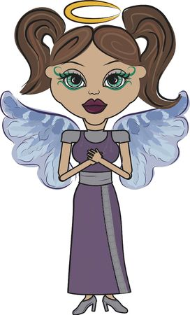 asian angel: Mandy is a fun character illustration of an Asian Angel. Stock Photo
