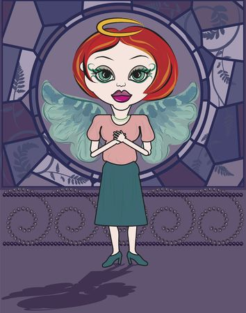 Lily is a fun character illustration of a red haired Angel. illustration