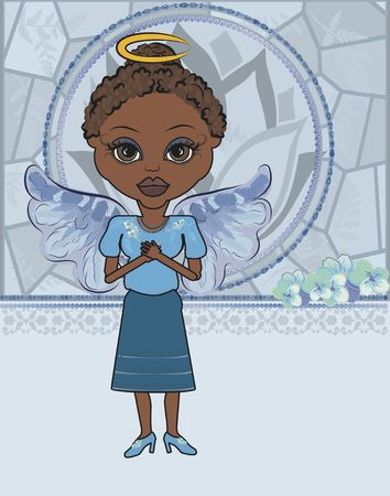 Mandy is a fun character illustration of an African American Angel. illustration