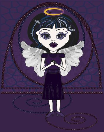 Violet is a fun character illustration of a Gothic Angel. illustration