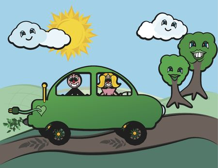 Cartoon conceptual illustration of an electric car and driver being good to the earth.